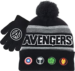 Marvel Avengers Kids Winter Hats and Snow Gloves Set for Boys and Toddlers with Cute Mittens and Soft Beanie, Fluffy Pom Pom