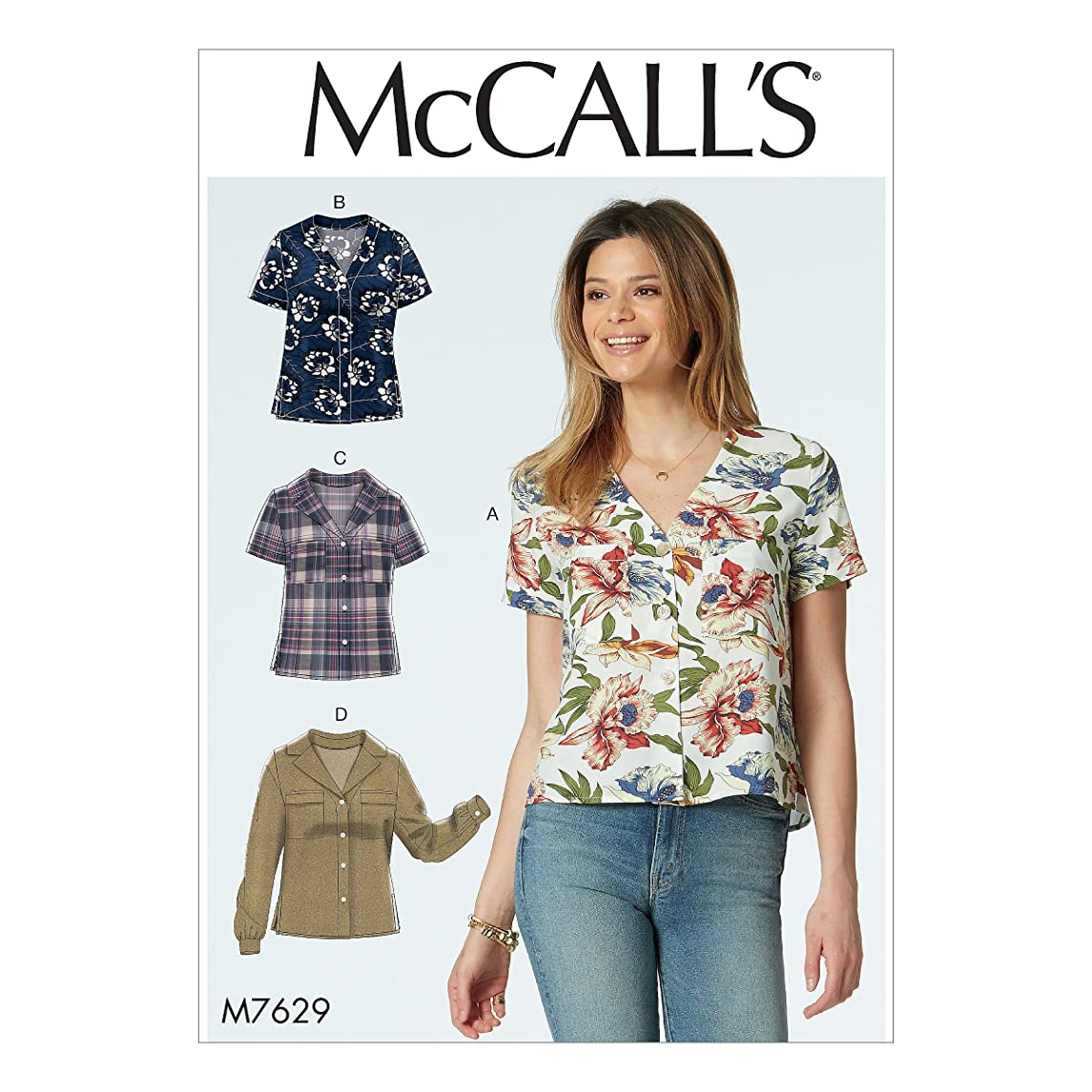 McCall Patterns M7629A50 Misses' Button-Front Collar and Sleeve Options Tops
