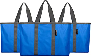 CleverMade SnapBasket 30 Liter Reusable Tote Bag with Reinforced Bottom: Collapsible Grocery Shopping Basket, Royal Blue/Charcoal, 3 Pack