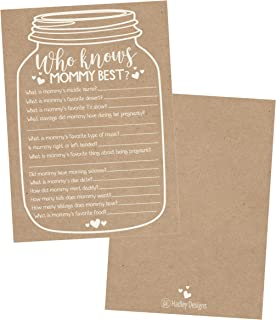 25 Rustic Mason Jar Baby Shower Games Ideas for Boys Or Girls, Fun Party Activities Who Knows Mommy Best Gender Neutral Reveal New Parent Guessing Funny Questions Pack Kids, Mom, Dad and Coed Couples
