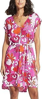 Seafolly Women's Printed Swimwear Cover Up Dress with Drawstring Waist, Sun Dancer Spicy Orange, L