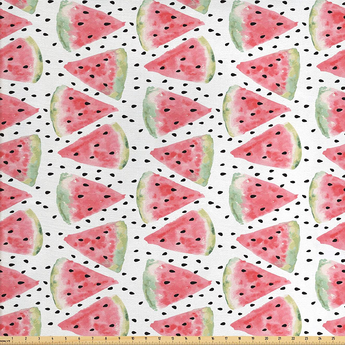 Ambesonne Watercolor Fabric by The Yard, Pattern of Juicy Pieces Watermelon with Seed Tropical Summer, Decorative Fabric for Upholstery and Home Accents, 1 Yard, Coral Pale Green Black