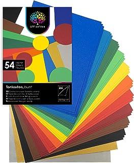 OfficeTree 54 Feuilles de papier dans des tons colorés - enfants Papier DIN A4 pour bricoler et construire - 220 g/m² - 10...