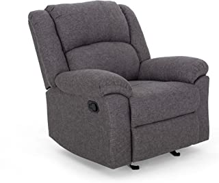 Christopher Knight Home Nora Glider Recliner, Charcoal Tweed + Black