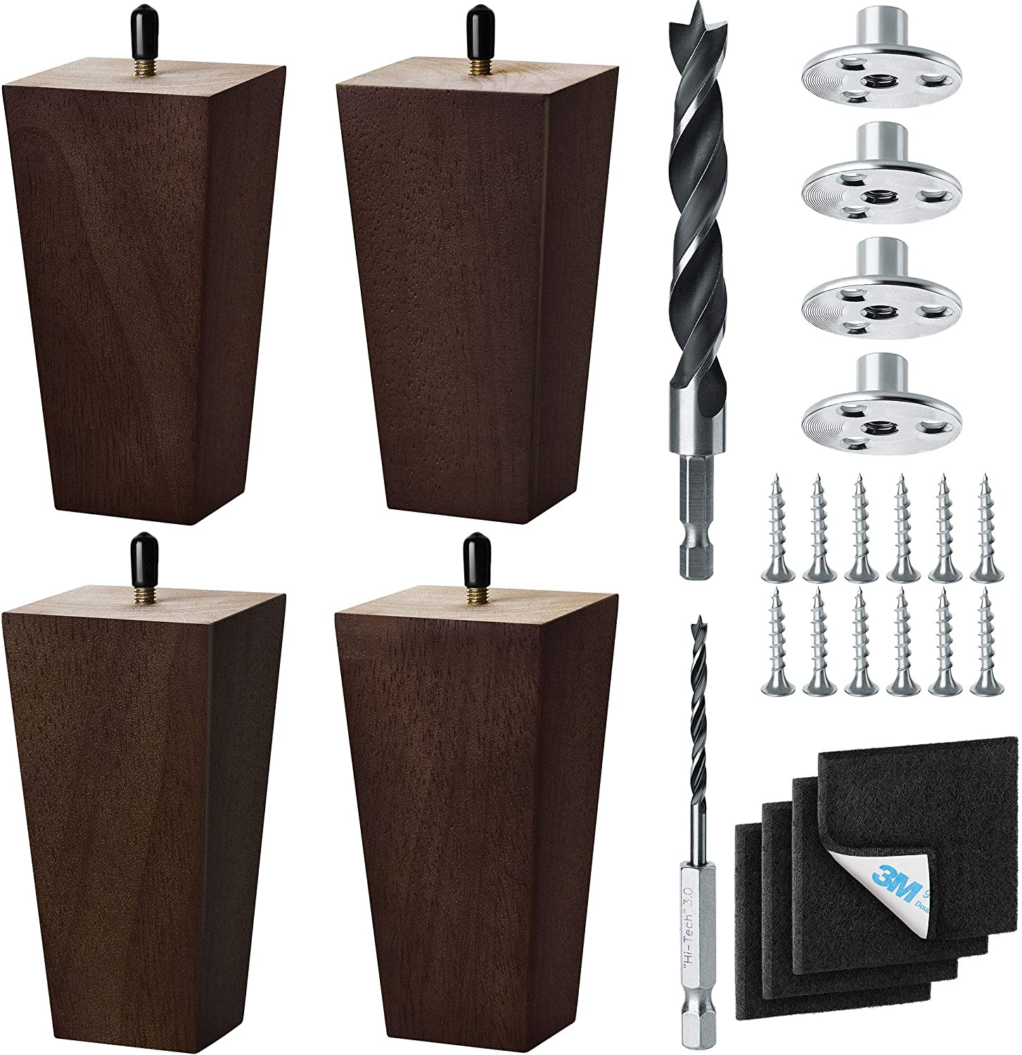 6 Inch 4 years warranty - All items free shipping Furniture Legs 4-Pack – for Rubber Couc Wood