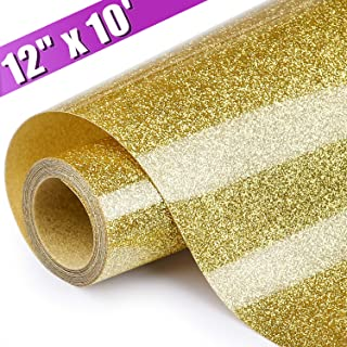ARHIKY Heat Transfer Vinyl Glitter HTV Gold 12 Inches by 10 Feet Iron On DIY T-Shirts and Fabrics