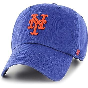 47 New York Mets Clean Up Adjustable Hat MLB Baseball Cap Adult Unisex White//Royal//Orange