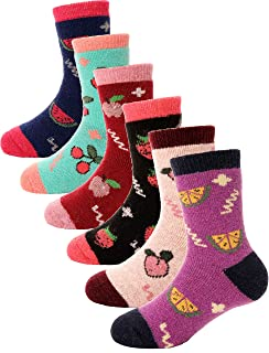 Boys Girls Wool Socks Soft Warm Thick Thermal Cotton For Child Kid Toddler Winter Crew Socks 6 Pairs