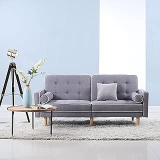 DIVANO ROMA FURNITURE Mid Century Modern Splitback Tufted Linen Fabric Futon (Light Grey)