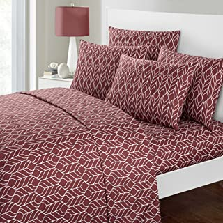 Chic Home Red Maple 6 Piece Sheet Set Super Soft Two-Tone Geometric Leaf Pattern Print Deep Pocket Design – Includes Flat & Fitted Sheets and Bonus Pillowcases, King Brick Red