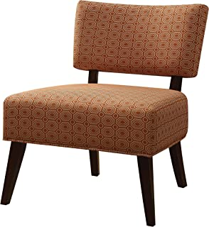 Major-Q Contemporary Style Linen Accent Chair for Living Room/Bedroom, Tight Back and Seat Cushion, Red and Gold Pattern Fabric with Espresso Finish Wooden Tapered Leg, 9059393