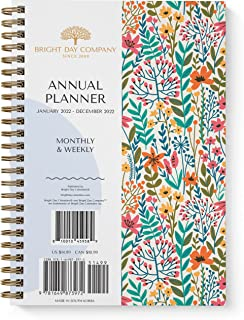 2022 Floral Annual Planner by Bright Day, Yearly Monthly Weekly Daily Spiral Bound Dated Agenda Flexible Cover Tabbed Note...