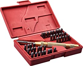 Sellos de letras Sellos de letras de alfabetos juego de punzones de acero del metal caja de herramienta del arte 3mm SODIAL R