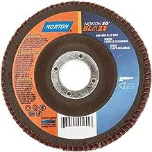 Norton Blaze R980P Abrasive Flap Disc, Type 27, Round Hole, Plastic Backing, Ceramic Aluminum Oxide, 4-1/2