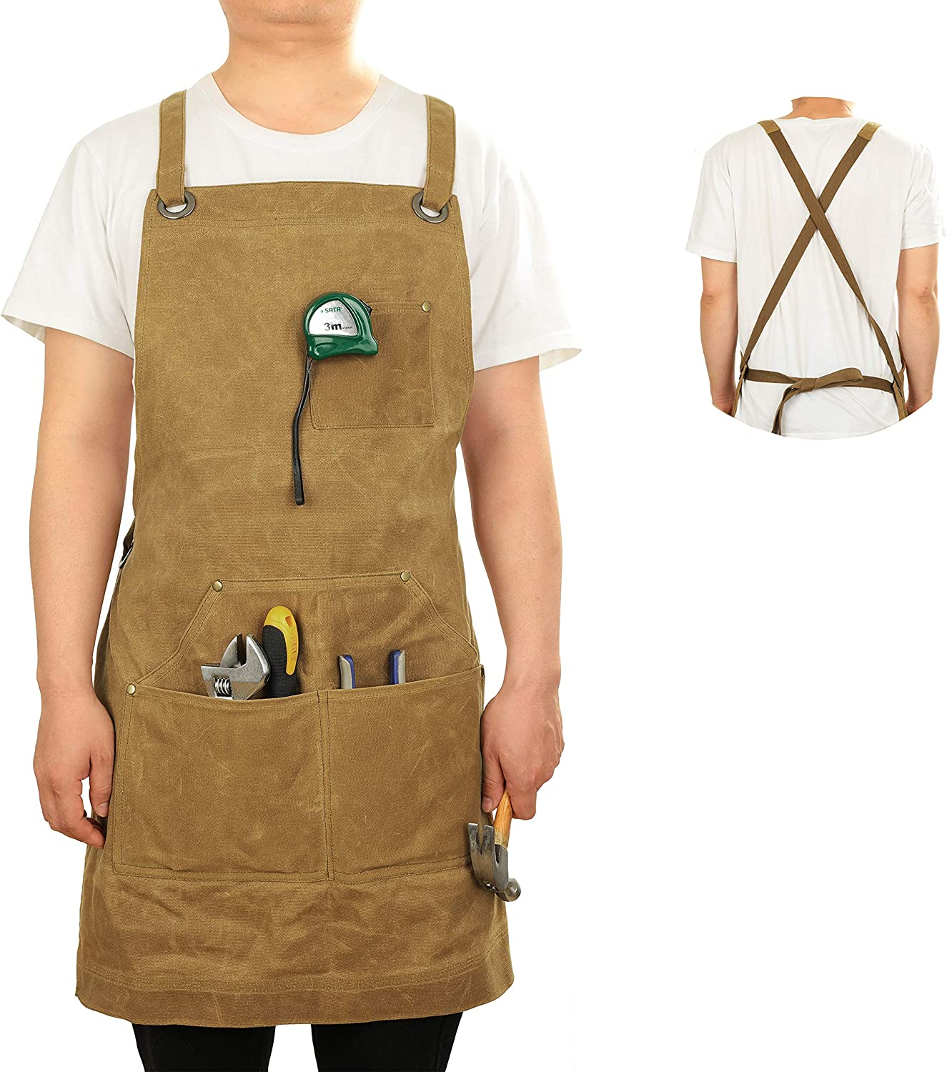 Heavy Duty Waxed Over item handling At the price ☆ Canvas Apron - Adjustable Straps Durable Back