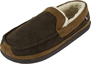 IZOD Men's Classic Two-Tone Moccasin Slipper, Winter Warm Slippers with Memory Foam, Size 8 to 13