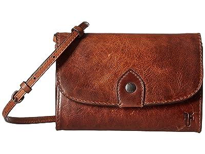 Frye Melissa Wallet Crossbody (Cognac Antique Pull-Up) Cross Body Handbags