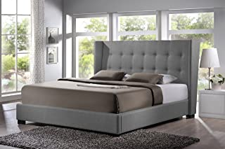 Baxton Studio Favela Linen Modern Bed with Upholstered Headboard, King, Grey