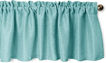 Aiking Home Pure 100% Faux Linen Window Valance - Size 56 inch x 16 inch, Aqua