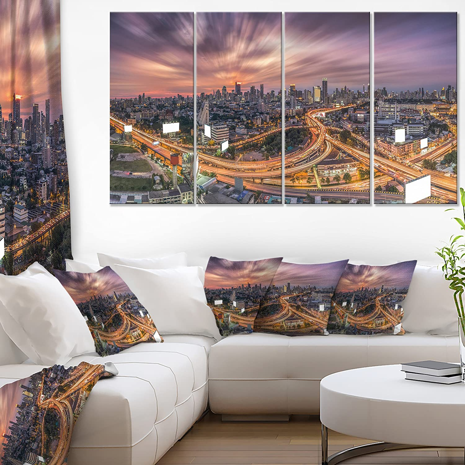 Designart Bangkok S Shaped Express Way Cityscape Artwork Canvas 60x28 5 Piece Pt11232 401 60x28 5 Equal Panels Posters Prints