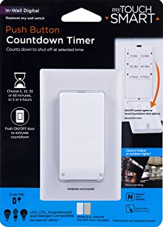 myTouchSmart Push Wall Digital Countdown Timer Switch, Button, 5-10-30-60 Min. and 2 – 4 Hr Presets, for Lights, Exhaust Fans, Heaters, White/Lt. Almond Doors Included, 40953