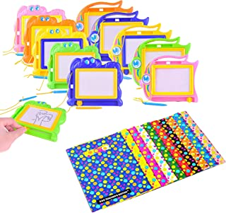 S & E TEACHER'S EDITION Magnetic Drawing Board 12Pcs with Party Favor Bags 12 Pcs, Cute Cartoon Doodle, Writing Sketch Pad, Random Color