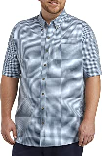 Harbor Bay by DXL Big and Tall Easy-Care Gingham Sport Shirt, Blue