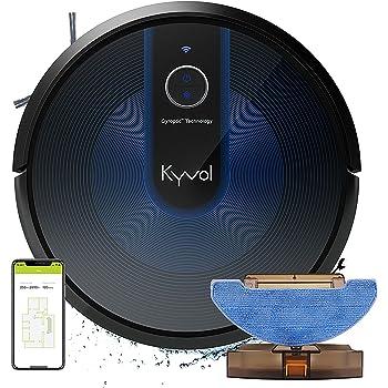 KYVOL Robot Aspirapolvere Lavapavimenti Senza Filo, Robottino Aspirapolvere Robot Supporta Alexa, Lavapavimenti Robot per Animali Adatto Tappeti e Tutti i Tipi di Pavimenti (Nero)