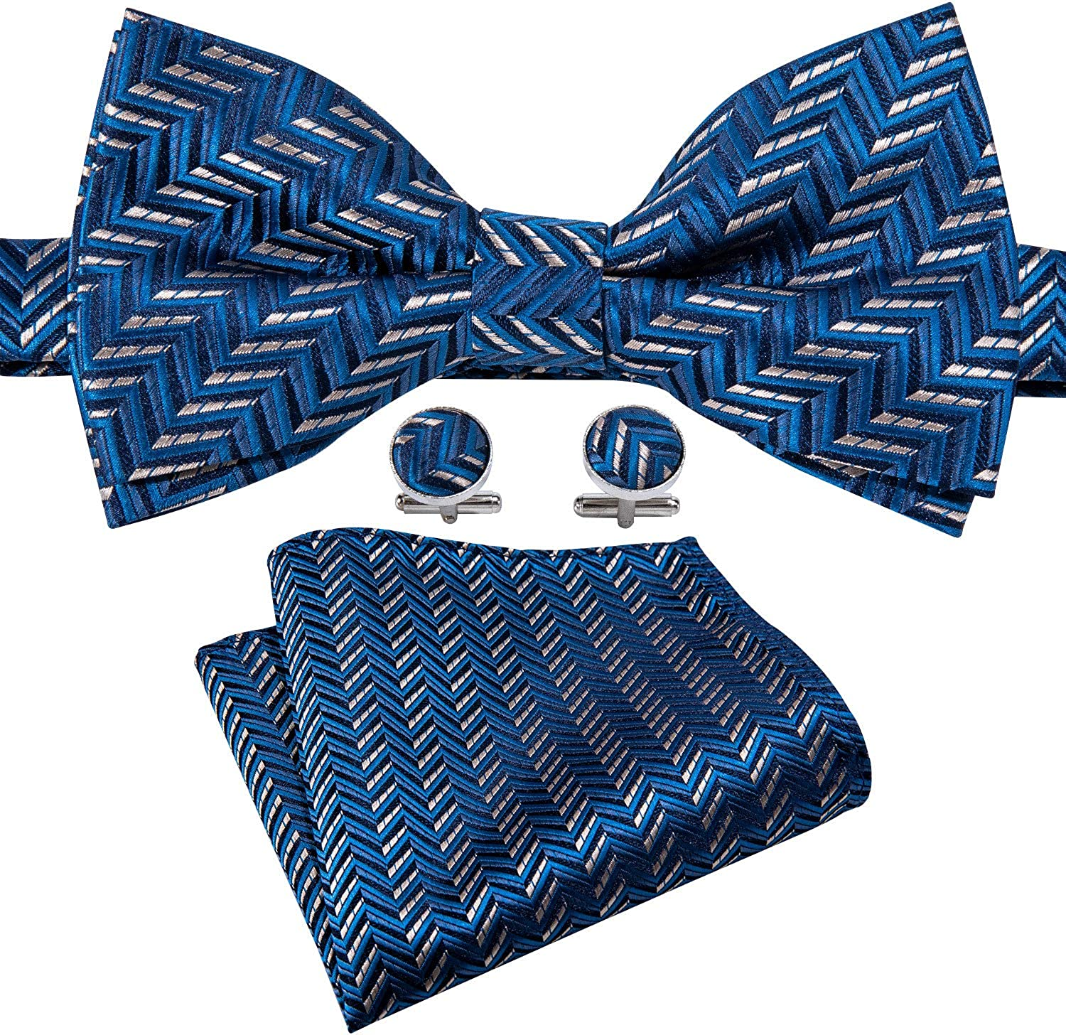 Barry.Wang Men Pre-tied Bow Tie Set with Pocket Square Cufflink Silk Solid Color Bowtie Formal