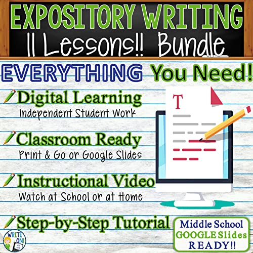 Expository Writing BUNDLE - 11 Resources, Distance Learning, Independent Student Instruction, In Class Lessons, Instructional Video, Powerpoints, Worksheets, Rubric, Graphic Organizer, Google Slides