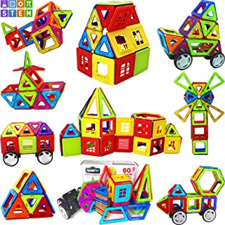 LearnFun 60 Piece StrongMagnetic Building Block Set - Colorful 3D Construction Tiles for Children - Best Educational, Learning Preschool Creativity Kit STEM Toys for Toddlers, Kids, Girls & Boys