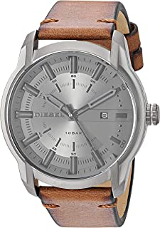 Diesel Men's Armbar Stainless Steel Analog-Quartz Watch with Leather Strap, Brown, 22.4 (Model: DZ1869)