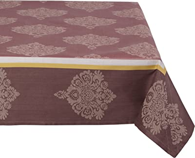 Mahogany Medallion 60-Inch by 60-Inch Dark Rose/Ivory Square Tablecloth, Cotton Jacquard