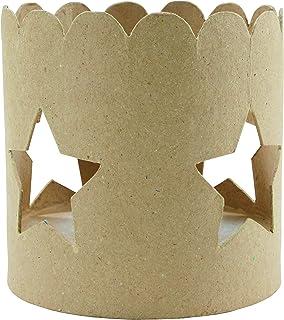 Décopatch Mache Circular Tea light Holder, 12 x 12 x 12 cm - Brown