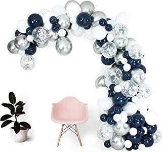 Shimmer and Confetti 165 Pack 16ft Premium Navy Blue Chrome Silver White Balloon Arch Garland Kit, Party Decoration and Supplies. Silver Chrome Balloons, Pump, 10 Confetti, Strip, Fishing Line, Glue