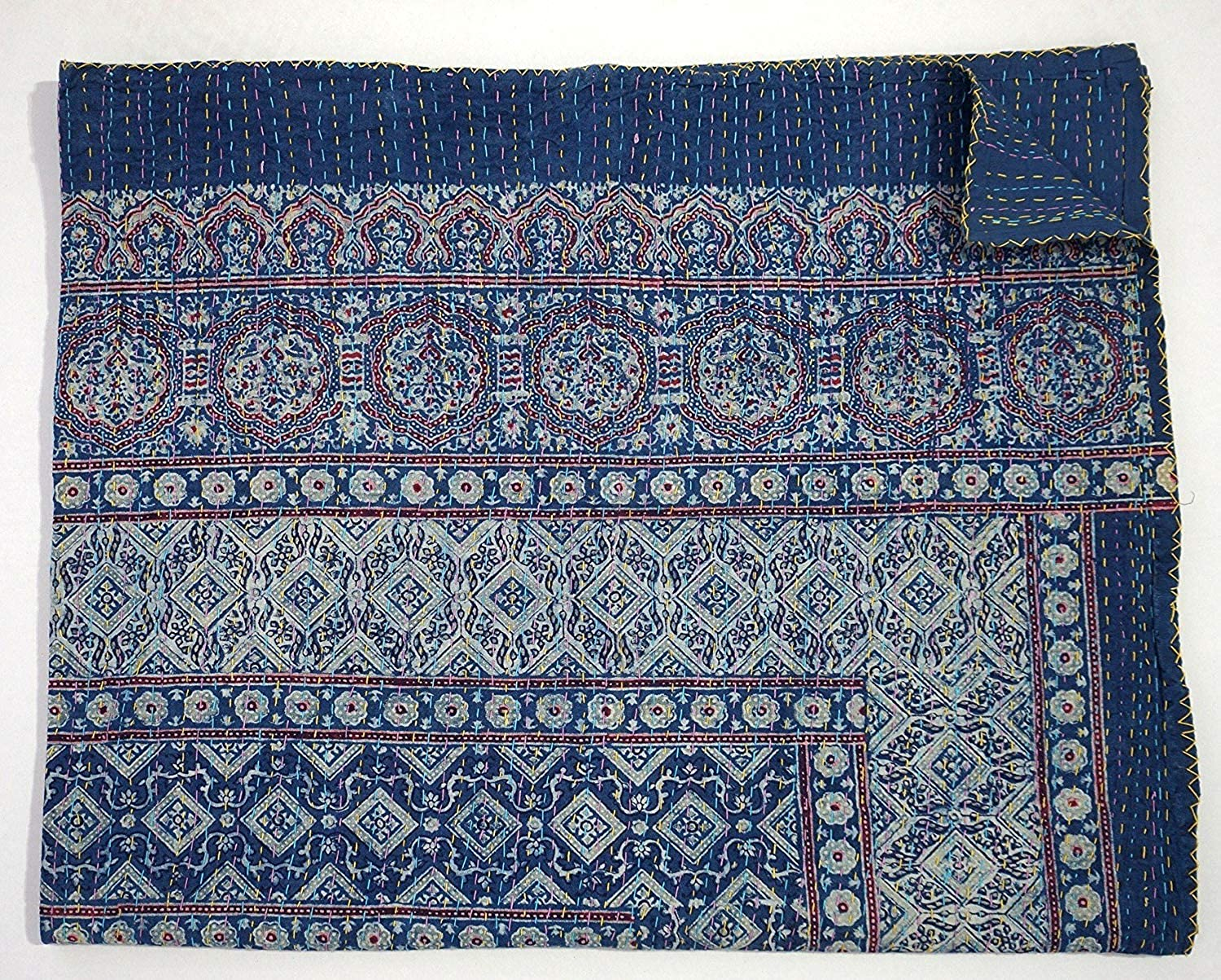 bluee Kantha Quilt, King Size Hand Stitch Kantha Ajrakh Bed-cover, Indian Bohemian Kantha Ajrakh Quilt