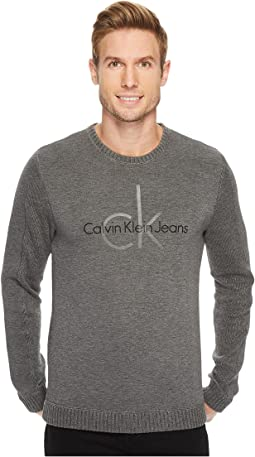 Calvin Klein Jeans - Cotton Waffle and Spacer Logo Crew Neck Sweatshirt