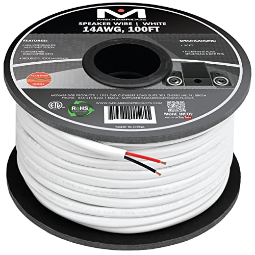 100/% Pure Bare Copper With Color Coded Conductors 100ft UL Plenum Rated Monoprice 113719 Nimbus Series 14 Gauge AWG 4 Conductor CMP-Rated Speaker Wire//Cable