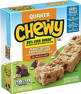 Quaker Chewy Granola Bars, 25% Less Sugar, Peanut Butter Chocolate Chip, 8 Bars