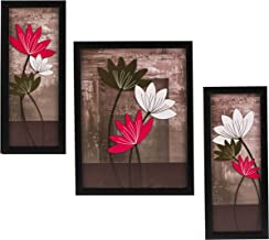 Indianara 3 Pc Set of Floral Paintings Without Glass 5.2 X 12.5, 9.5 X 12.5, 5.2 X 12.5 Inch