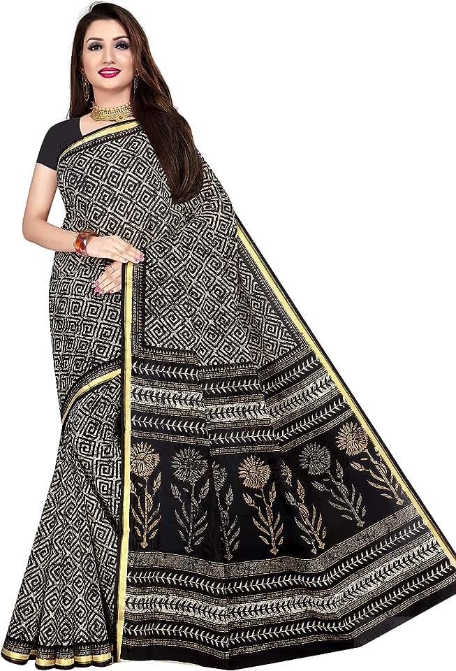 Indian Tamaira Fashion Women's Plain Weave Cotton Saree Without Blouse Piece Saree