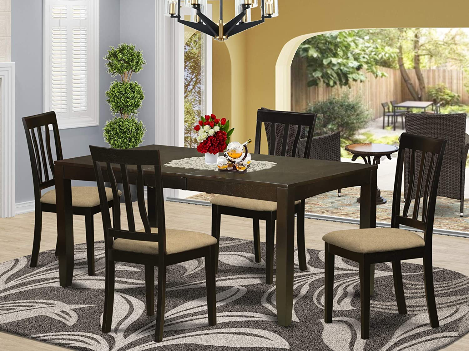 East West Furniture LYAN5-CAP-C 5-Piece Kitchen Table Set – Rectangular Top Kitchen Dining Table – 4 Dining Room Chairs Slatted Back and Linen Fabric Seat (Cappuccino Finish)