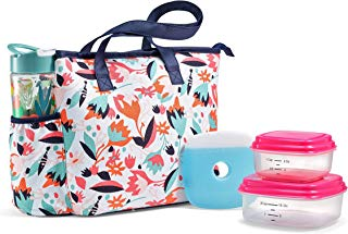 Fit & Fresh Huntsville Lunch Bag Kit with BPA-Free Container Set and Matching 20 oz. Tritan Plastic Water Bottle, Multi Floral Cutouts