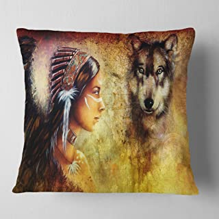 """Designart Woman with Wolf' Portrait Throw Cushion Pillow Cover for Living Room, Sofa 18"""" x 18"""""""