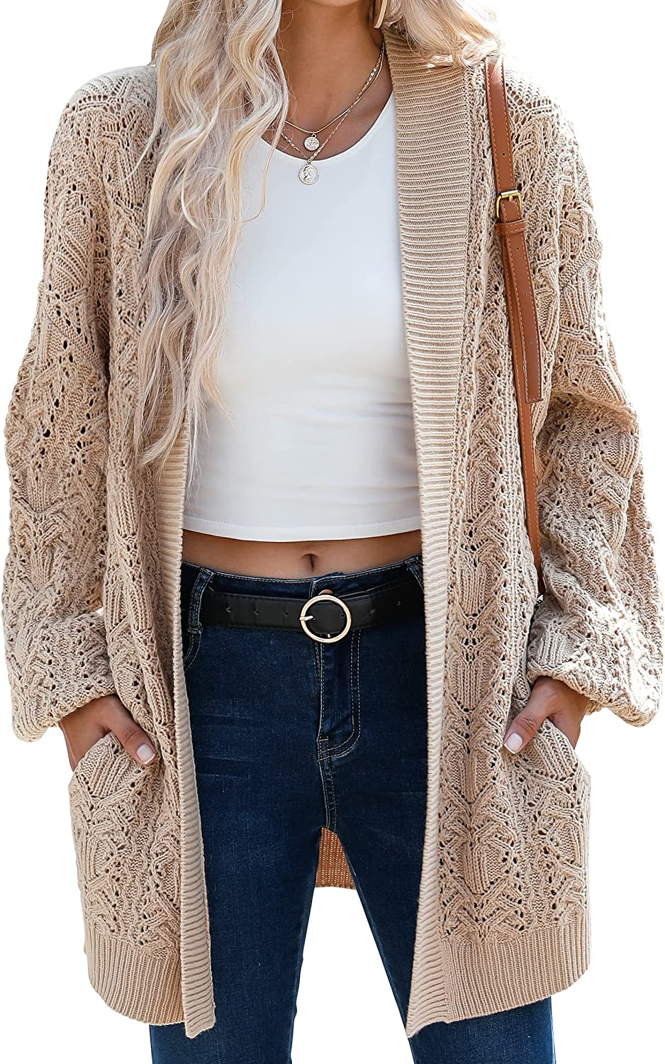 ANRABESS Womens Open Front Long Sleeve Drop Shoulder Soft Oversized Slouchy Crochet Knit Cardigan Sweaters
