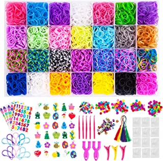 VENSEEN 11900+ Rainbow Rubber Bands Bracelet Refill Kit, 11000 Loom Bands, 600 S-Clips, 252 Beads, 30 Charms, 10 Backpack Hooks, 5 Tassels, 5 Crochet Hooks, 4 Stickers,3 Hair Clips, 2 Y Looms