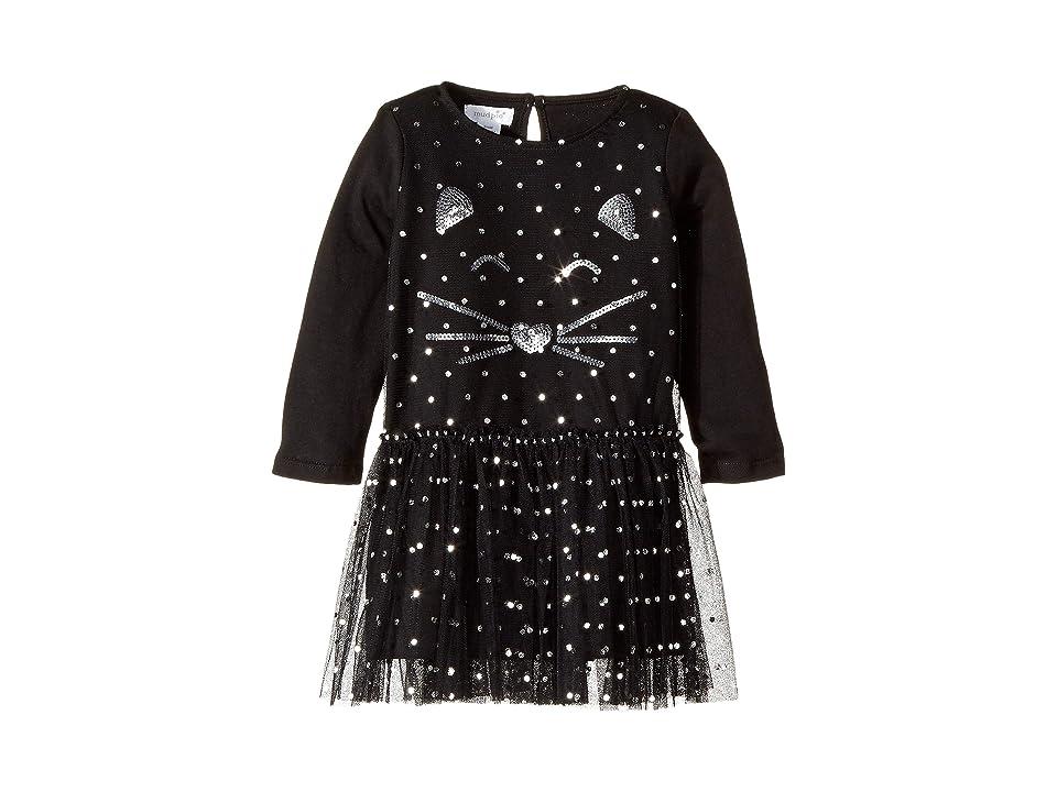 Mud Pie Halloween Cat Mesh Overlay Dress (Infant/Toddler) (Black) Girl