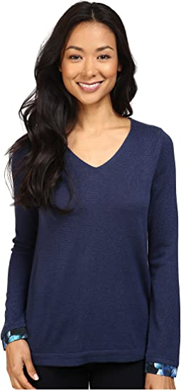 Petite Mixed Media V-Neck Sweater