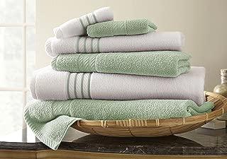 Amrapur Overseas 6-Piece Quick-Dry 450GSM 100% Combed Cotton Stripe Towel Set [Soft Jade]