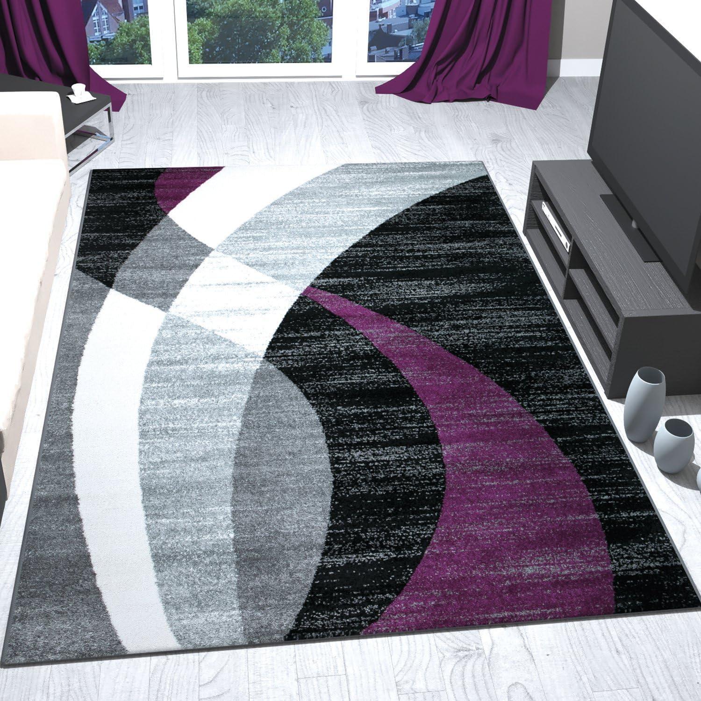 VIMODA Teppich Modern Design Schwarz Grau Lila Kurzflor ...